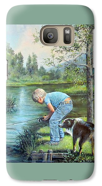 Galaxy Case featuring the painting Seth And Spiky Fishing by Donna Tucker