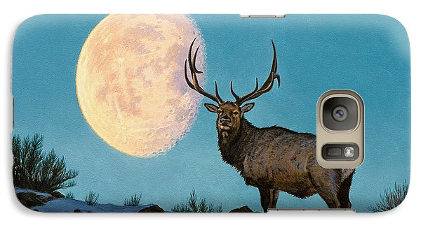 Bull Galaxy S7 Case - Setting Moon And Elk by Paul Krapf