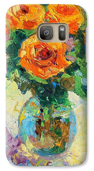 Galaxy Case featuring the painting Seven Yellow Roses In Glass Vase Oil Painting by Thomas Bertram POOLE