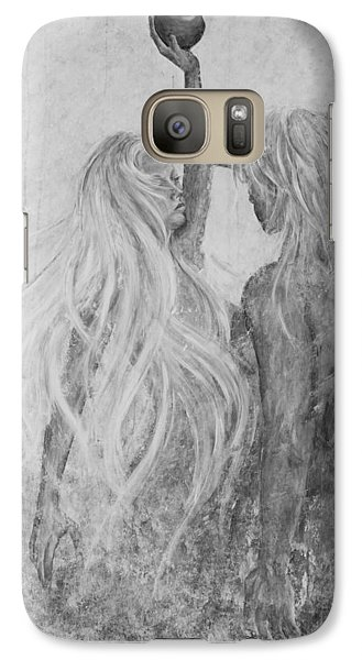 Galaxy Case featuring the painting Shades Of Gray - Adam And Eve by Nik Helbig
