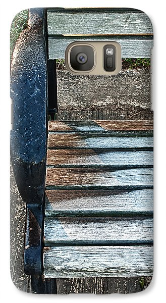 Galaxy Case featuring the photograph Shadow Protecting Frost On Bench by Gary Slawsky