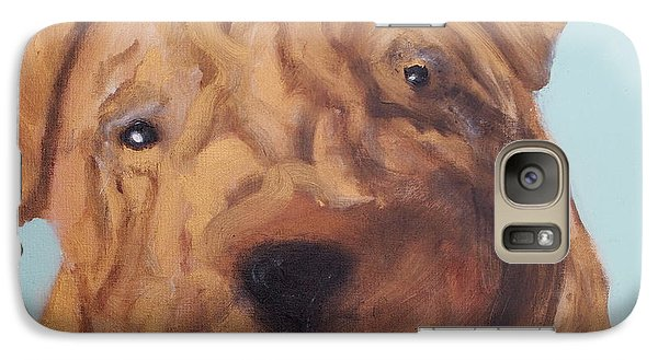 Galaxy Case featuring the painting Sharpei - Golden Boy by Laura  Grisham