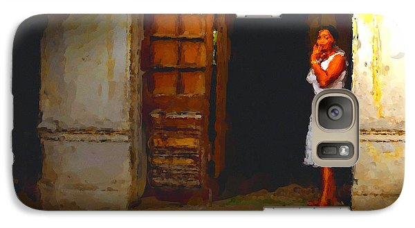 Galaxy Case featuring the digital art She Beckons by Dennis Lundell