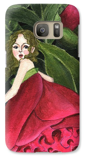 Galaxy Case featuring the painting She Stole A Peony To Wear by Jingfen Hwu