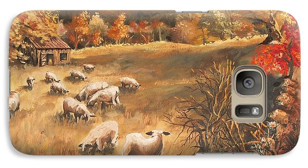 Galaxy Case featuring the painting Sheep In October's Field by Joy Nichols