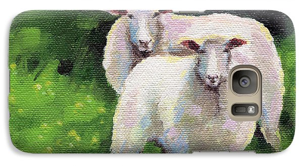 Galaxy Case featuring the painting Sheeps by Natasha Denger
