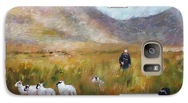 Galaxy Case featuring the drawing Shepherd And Sheep In The Valley  by Viola El