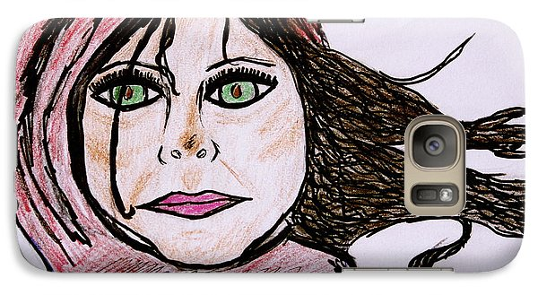 Galaxy Case featuring the drawing She's Like The Wind by Chrissy  Pena