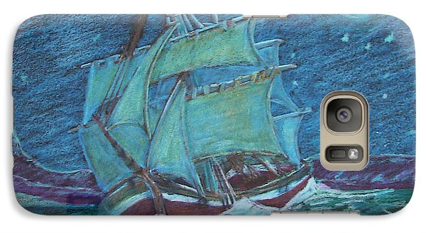 Galaxy Case featuring the drawing Ship At Sea by Joseph Hawkins