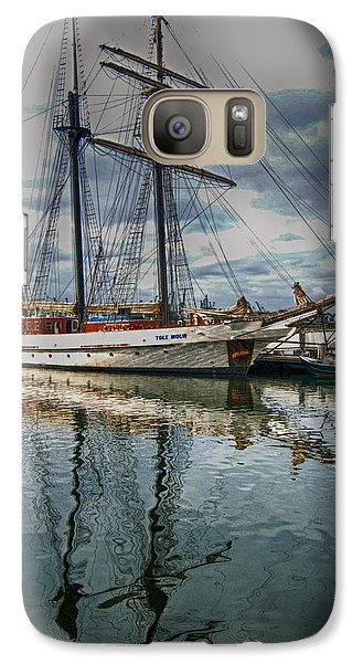 Galaxy Case featuring the photograph Ship At Shoreline by Joseph Hollingsworth