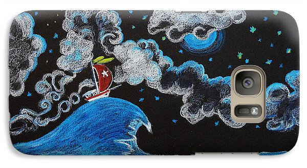 Galaxy Case featuring the drawing Ship Big Wave by Joseph Hawkins