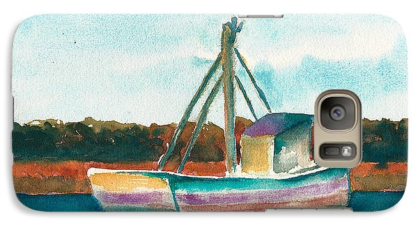 Galaxy Case featuring the painting Ship In The Marsh by Frank Bright