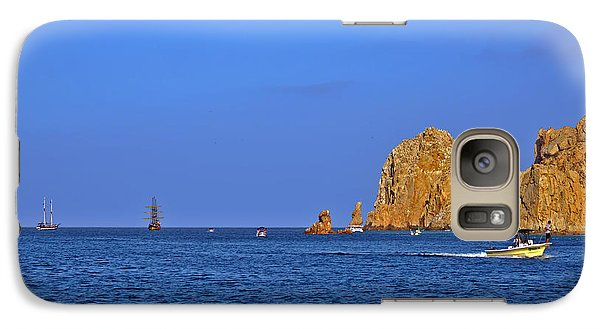 Galaxy Case featuring the photograph Ships Lining Up At Land's End by Christine Till
