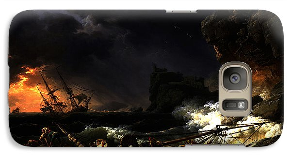 Galaxy Case featuring the digital art Shipwreck In A Thunderstorm by Joseph Vernet
