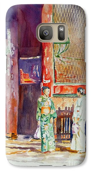 Galaxy Case featuring the painting Shopping  by Mary Haley-Rocks