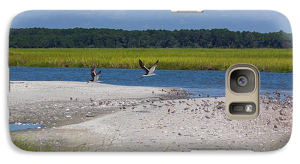 Galaxy Case featuring the photograph Shorebirds And Marsh Grass by Patricia Schaefer