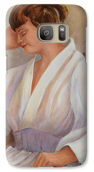 Galaxy Case featuring the painting Short Nap by Marta Styk