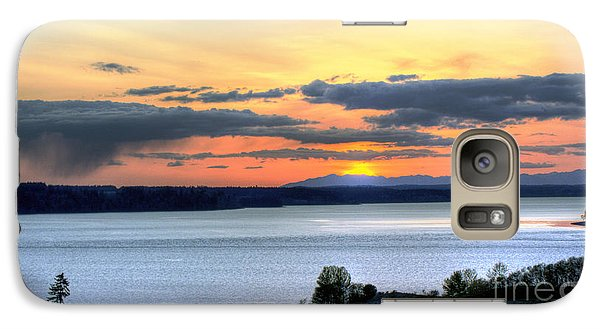 Galaxy Case featuring the photograph Showers Over Mcneil Island - Chambers Bay Golf Course by Chris Anderson