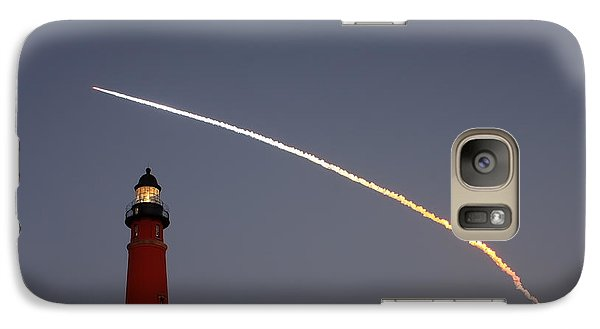 Galaxy Case featuring the photograph Shuttle Discovery Liftoff Over Ponce Inlet Lighthouse by Paul Rebmann
