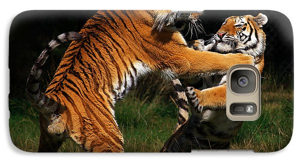 Galaxy Case featuring the photograph Siberian Tigers In Fight by Nick  Biemans