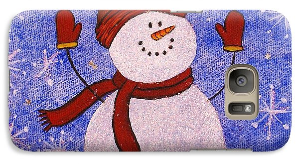Galaxy Case featuring the painting Sid The Snowman by Jane Chesnut