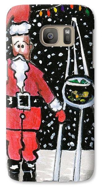 Galaxy Case featuring the painting Sidewalk Santa by Joyce Gebauer
