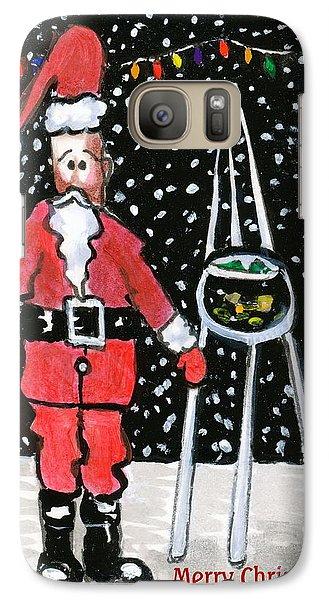 Galaxy Case featuring the painting Sidewalk Santa.card by Joyce Gebauer