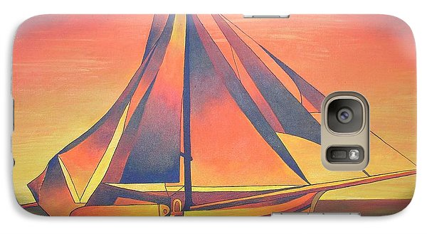 Galaxy Case featuring the painting Sienna Sails At Sunset by Tracey Harrington-Simpson
