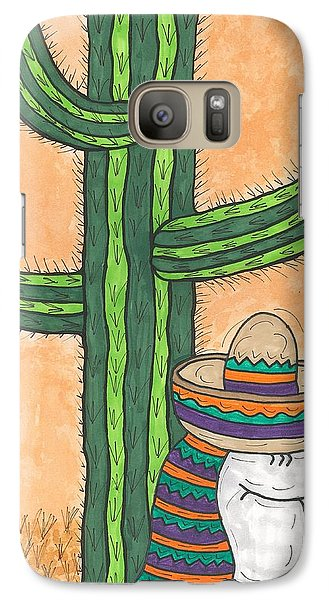 Galaxy Case featuring the painting Siesta Saguaro Cactus Time by Susie Weber