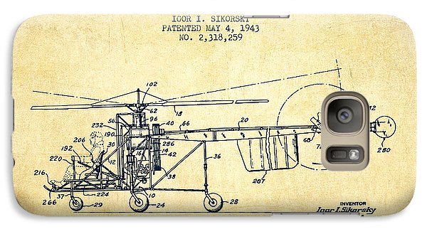 Sikorsky Helicopter Patent Drawing From 1943-vintgae Galaxy S7 Case by Aged Pixel