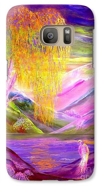 Egret Galaxy S7 Case - Silent Waters, Silver Birch And Egret by Jane Small