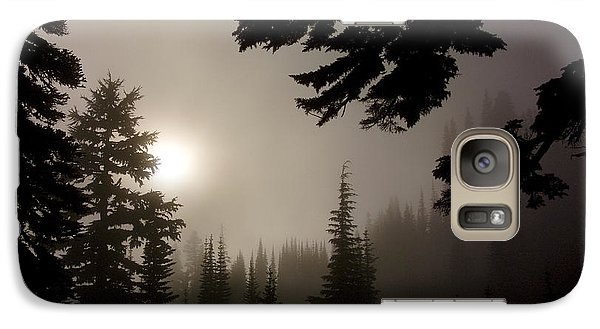 Galaxy Case featuring the photograph Silhouettes Of Trees On Mt Rainier by Greg Reed