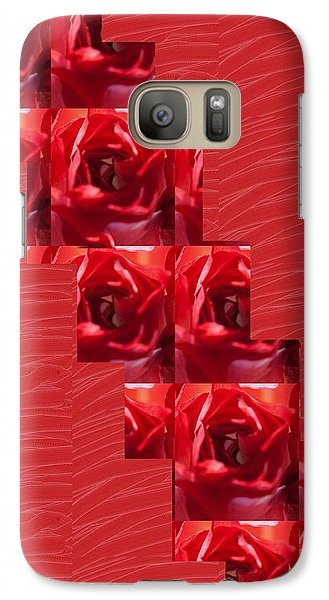 Galaxy Case featuring the photograph Silken Red Sparkles Redrose Across by Navin Joshi