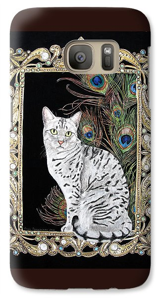 Galaxy Case featuring the painting Silver Egyptian Mau by Leena Pekkalainen