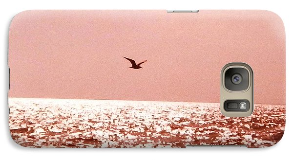 Galaxy Case featuring the photograph Silvery Seagull Solo Flight by Belinda Lee