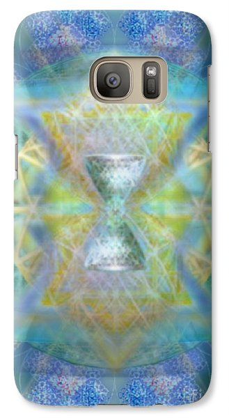 Galaxy Case featuring the digital art Silver Torquoise Chalicell Ring Flower Of Life Matrix by Christopher Pringer
