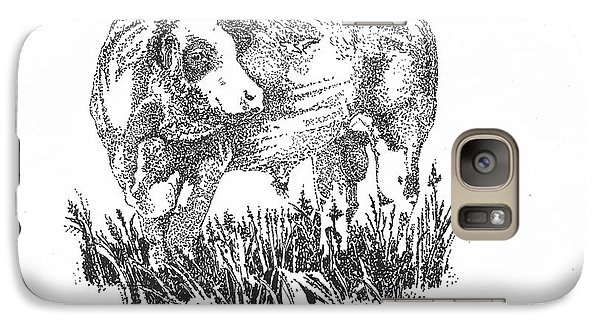 Galaxy Case featuring the drawing Simmental Bull by Larry Campbell
