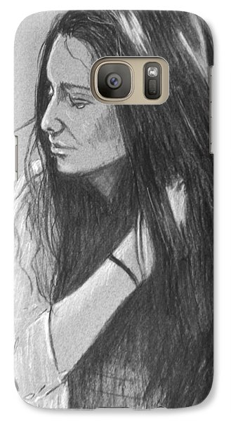 Galaxy Case featuring the drawing Simplicity Grey by Justin Moore