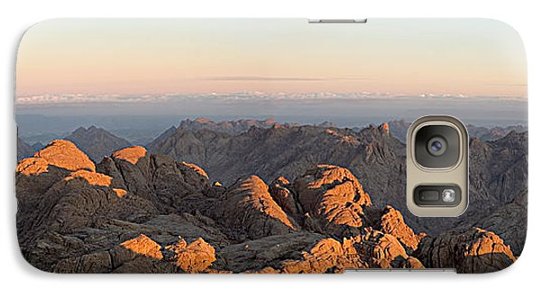 Galaxy Case featuring the pyrography Sinai Mountains Just After Sunrise by Julis Simo