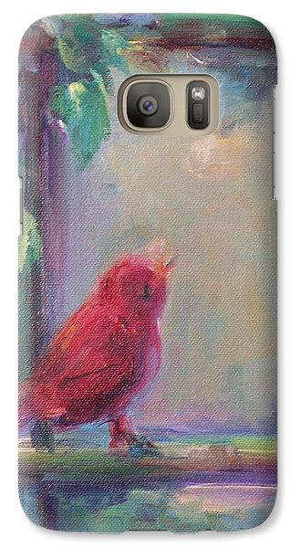 Galaxy Case featuring the painting Sing Little Bird by Mary Wolf