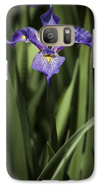 Galaxy Case featuring the photograph Single Iris by Penny Lisowski