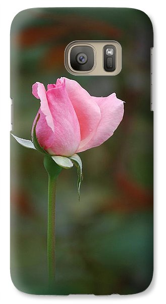 Galaxy Case featuring the photograph Single Pink Rose by Kathy Gibbons