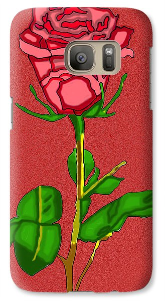 Galaxy Case featuring the digital art Single Red Rose With Red Background by Christine Perry