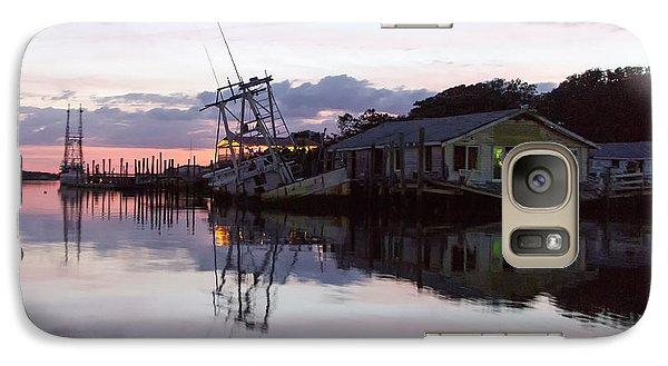 Galaxy Case featuring the photograph Sinking Sun Sunken Boat by Alan Raasch