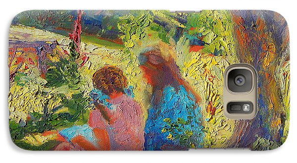 Galaxy Case featuring the painting Sisters Reading Under Oak Tree by Thomas Bertram POOLE