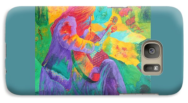 Galaxy Case featuring the painting Sit'n And Pick'n by Nancy Jolley
