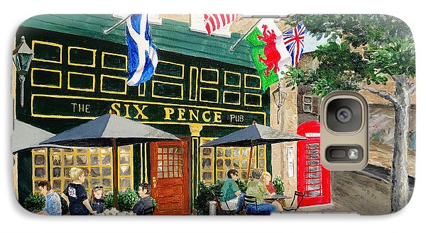Galaxy Case featuring the painting Six Pence Pub by Marilyn Zalatan