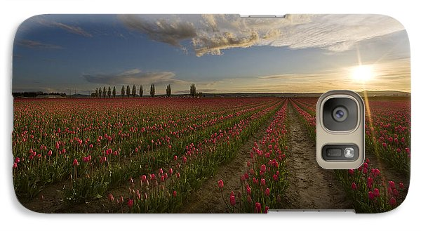 Skagit Tulip Fields Sunset Galaxy Case by Mike Reid