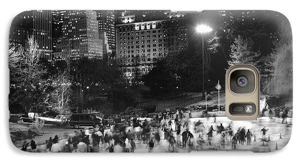 Galaxy Case featuring the photograph New York City - Skating Rink - Monochrome by Dave Beckerman