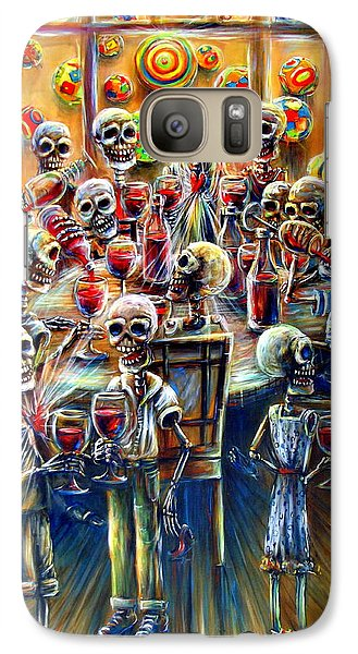 Galaxy Case featuring the painting Skeleton Wine Party by Heather Calderon